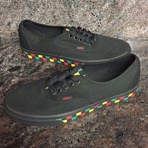20e9ba9d44eb0f Vans Shoes - Vans Checker Tape Authentic Black   Rasta Shoes